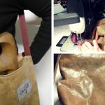 composizione di foto con le fasi di preparazione della borsa portaforcole per incentivare il rinnovo delle iscrizioni